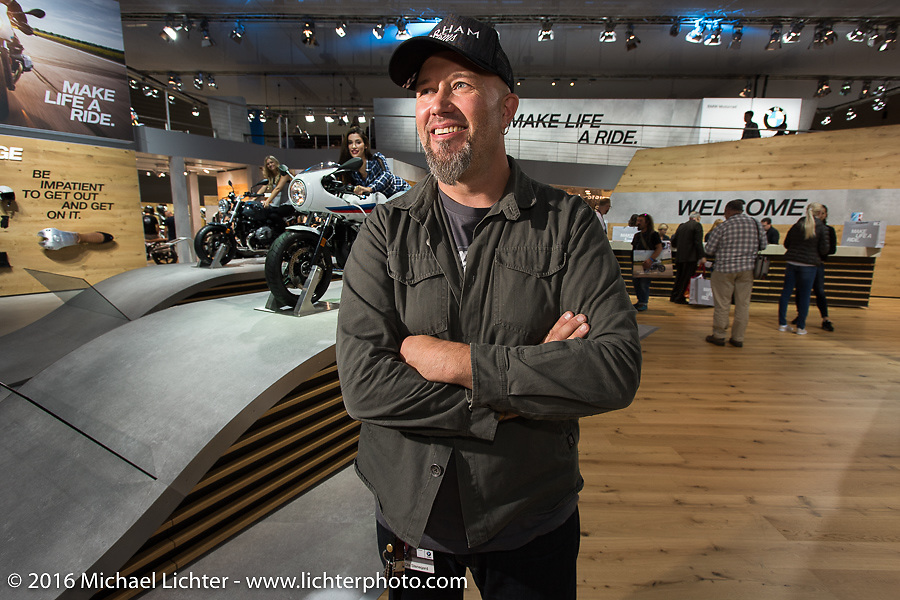Ola Stenegard from BMW's Design team at the Intermot Motorcycle Trade Fair. Cologne, Germany. Wednesday October 5, 2016. Photography ©2016 Michael Lichter.