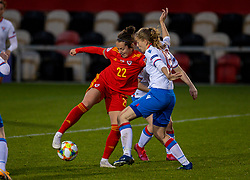 NEWPORT, WALES - Thursday, October 22, 2020: Wales' Georgia Walters tries a Cruyff turn in the area during the UEFA Women's Euro 2022 England Qualifying Round Group C match between Wales Women and Faroe Islands Women at Rodney Parade. Wales won 4-0. (Pic by David Rawcliffe/Propaganda)