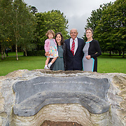 29.08. 2017.                                                   <br /> A new scholarship, the Roibeárd Thornton Memorial-Janssen Scholarship, was launched at the University of Limerick, named in memory of Dr Roibeárd Thornton, a graduate of the University. Dr Thornton, who had been working with Janssen Pharmaceuticals in Cork for over 4 years, had just returned to Limerick with his family when he was tragically killed in a car crash in January 2016.<br /> <br /> Pictured at the event were Dr Roibeárd Thornton's family, Niamh (widow), Sadhbh, (daughter),Jody (mother) and Sean Thornton (father).<br /> <br /> <br /> A special seat using rock from the family land of Dr Roibeárd Thornton, was commissioned by his UL science family and brought to campus as a permanent reminder of his gentle soul. It is positioned close to Plassey House overlooking a grass valley with the River Shannon in view. Picture: Alan Place<br /> <br /> <br /> For more information, contact:<br /> Sarah Hartnett, University of Limerick Foundation Tel: 086-3872863; Email: sarah.hartnett@ul.ie