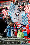 Young Manchester City fans in the stadium prior to kick off. Capital One Cup Final, Liverpool v Manchester City at Wembley stadium in London, England on Sunday 28th Feb 2016. pic by Chris Stading, Andrew Orchard sports photography.
