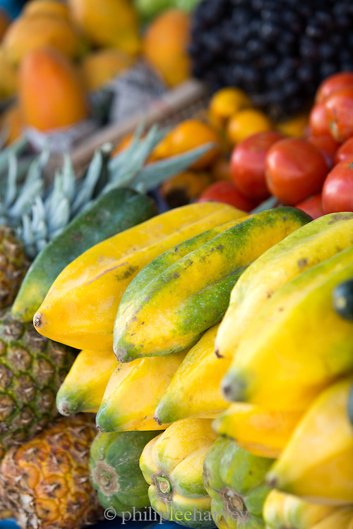 Star fruit for sale, Otavalo food Market. , Ecuador, South America