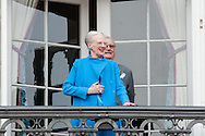 16.04.2016. Copenhagen, Denmark.<br /> Queen Margrethe II celebrates her 76th birthday with her whole family. Queen Margrethe II and Prince Henrik on the balcony of Christian IX's Palace at Amalienborg Palace.<br /> Photo: © Ricardo Ramirez