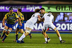 Ellis Jenkins of Cardiff Blues is tackled by Florian Verhaeghe of Toulouse - Mandatory by-line: Craig Thomas/JMP - 14/01/2018 - RUGBY - BT Sport Cardiff Arms Park - Cardiff, Wales - Cardiff Blues v Toulouse - European Rugby Challenge Cup