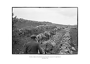 Donkeys laden with sand and cement begin their ascent of Croagh Patrick in County Mayo.<br />