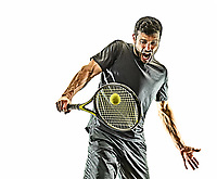 one caucasian mature tennis player man backhand portrait waist up in studio isolated on white background