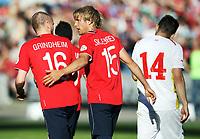 Fotball , 11. juni 2013 , Privatkamp , Norge - Makedonia<br /> Norway - FYR Macedonia<br /> <br /> Per Ciljan Skjelbred , Norge scorer mål<br /> her med Christian Grindheim , NOrge