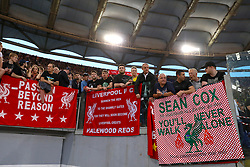 Liverpool fans holding a sign for Sean Cox, a Liverpool fan who was attacked outside Anfield during the UEFA Champions League, Semi Final, Second Leg at the Stadio Olimpico, Rome.