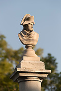Sunlit Napoleon head stone statue front view - Vallauris Golfe-Juan Cote dAzur, France