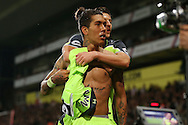 Roberto Firmino of Liverpool celebrates after  scoring his sides 4th goal to make it 2-4  with Adam Lallana of Liverpool. Premier League match, Crystal Palace v Liverpool at Selhurst Park in London on Saturday 29th October 2016.<br /> pic by John Patrick Fletcher, Andrew Orchard sports photography.