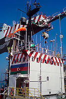 Azerbaijan. Caspian Sea. The huge crane at the DBA barge.