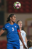 Wendie Renard (France) wins a header in the England penalty box during the International Friendly match between England Women and France Women at the Keepmoat Stadium, Doncaster, England on 21 October 2016. Photo by Mark P Doherty.