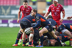 Jaco van der Walt of Edinburgh in action during todays match<br /> <br /> Photographer Craig Thomas/Replay Images<br /> <br /> Guinness PRO14 Round 11 - Scarlets v Edinburgh - Saturday 15th February 2020 - Parc y Scarlets - Llanelli<br /> <br /> World Copyright © Replay Images . All rights reserved. info@replayimages.co.uk - http://replayimages.co.uk