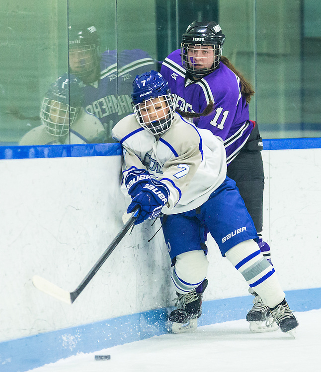 Katie Tang, of Colby College, in a NCAA Division III hockey game against Amherst College on January 9, 2015 in Waterville, ME. (Dustin Satloff/Colby College Athletics)