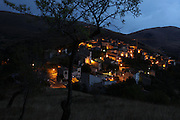 The town of Santo Stefano di Sessanio is pictured at dusk, province of L'Aquila in Abruzzo.