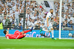 May 2, 2018 - Madrid, Spain - MADRID, SPAIN. May 1, 2018 - Karim Benzema scores 2-1 goal. With a 2-2 draw against Bayern Munchen, Real Madrid made it to the UEFA Champions League Final for third time in a row. Kimmich and James scored for the german squad while Karim Benzema did it twice for los blancos. Goalkeeper Keylor Navas had a great night with several decisive interventions. (Credit Image: © VW Pics via ZUMA Wire)