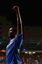 06.11.2013, Stamford Bridge, London, ENG, UEFA CL, FC Chelsea vs FC Schalke 04, Gruppe E, im Bild Chelsea's Samuel Eto'o celebrate, goal // Chelsea's Samuel Eto'o celebrate, goal UEFA Champions League group E match between FC Chelsea and FC Schalke 04 at the Stamford Bridge in London, Great Britain on 2013/11/06. EXPA Pictures © 2013, PhotoCredit: EXPA/ Mitchell Gunn<br /> <br /> *****ATTENTION - OUT of GBR*****