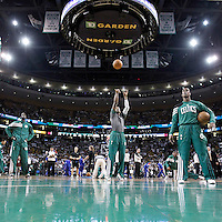 26 May 2012:  Boston Celtics shooting guard Ray Allen (20) warms up at the free-throw line as Boston Celtics point guard Rajon Rondo (9) and Boston Celtics power forward Kevin Garnett (5) watch prior to the Boston Celtics 85-75 victory over the Philadelphia Sixer, in Game 7 of the Eastern Conference semifinals playoff series, at the TD Banknorth Garden, Boston, Massachusetts, USA.