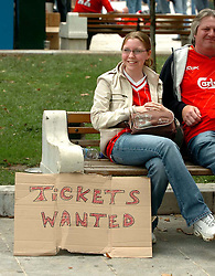 Athens, Greece - Wednesday, May 23, 2007: Liverpool's fan looking for a spear ticket, in Syntagma Square ahead of the UEFA Champions League Final against AC Milan. (Pic by Jason Roberts/Propaganda)
