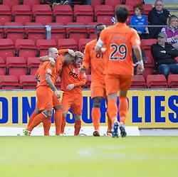 Kilmarock's Josh Magennis cele scoring their first goal.<br /> Half time : St Johnstone 1 v 2 Kilmarock, SPL game played at McDrarmid Park.