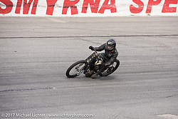 Matt Walksler racing his 1924 Harley-Davidson Model J 61 inch racer in Billy Lane's Sons of Speed vintage motorcycle racing during Biketoberfest. Daytona Beach, FL, USA. Saturday October 21, 2017. Photography ©2017 Michael Lichter.