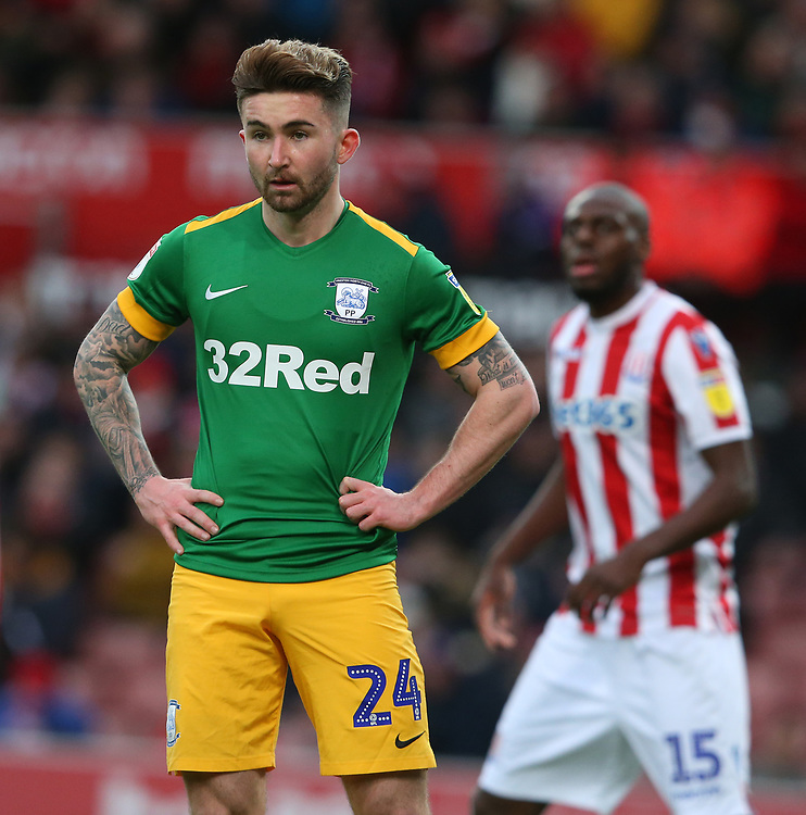 Preston North End's Sean Maguire<br /> <br /> Photographer Stephen White/CameraSport<br /> <br /> The EFL Sky Bet Championship - Stoke City v Preston North End - Saturday 26th January 2019 - bet365 Stadium - Stoke-on-Trent<br /> <br /> World Copyright © 2019 CameraSport. All rights reserved. 43 Linden Ave. Countesthorpe. Leicester. England. LE8 5PG - Tel: +44 (0) 116 277 4147 - admin@camerasport.com - www.camerasport.com