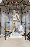Rome, Vatican Museums, Massimo Bernacchi restoring  a Statue of Hermes, workshop in the Cortile Ottagono