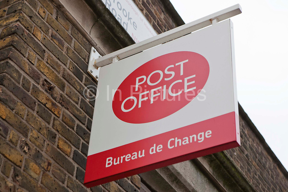 The sign outside the Post office branch in Stoke Newington, Hackney, London.