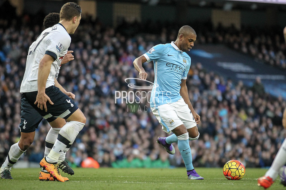 Fernandinho (Manchester City) during the Barclays Premier League match between Manchester City and Tottenham Hotspur at the Etihad Stadium, Manchester, England on 14 February 2016. Photo by Mark P Doherty.