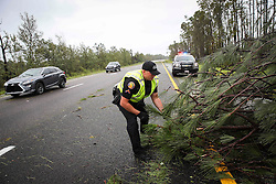 October 7, 2016 - Titusville, Florida, U.S. - WILL VRAGOVIC   |   Times.Trooper Paul Thompson with Florida Highway Patrol works to clear a pine tree that had fallen from the winds of Hurricane Matthew from the northbound lanes of I-95 near Edgewater, Fla. on Friday, Oct. 7, 2016. (Credit Image: © Will Vragovic/Tampa Bay Times via ZUMA Wire)