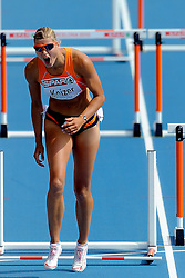 30-07-2010 ATLETIEK: EUROPEAN ATHLETICS CHAMPIONSHIPS: BARCELONA<br /> Jolanda Keizer in action on the 100m Hurdles Heptathlon Heat 1 / Hurdle 7 hits she with her foot and she loses her balance and is disqualified<br /> ©2010-WWW.FOTOHOOGENDOORN.NL