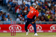England T20 bowler Chris Jordan bowls during the International T20 match between England and India at Old Trafford, Manchester, England on 3 July 2018. Picture by Simon Davies.