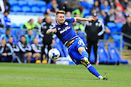 Anthony Pilkington of Cardiff city in action.Skybet football league championship match, Cardiff city v Bolton Wanderers at the Cardiff city Stadium in Cardiff, South Wales on Saturday 23rd April 2016.<br /> pic by Andrew Orchard, Andrew Orchard sports photography.