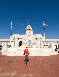 Washington DC; USA: Union Station, the rail terminal for Washington DC. Woman walking outside the buidling, model released..Photo copyright Lee Foster Photo # 25-washdc75555