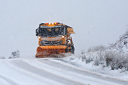 © Licensed to London News Pictures. 11/02/2014. Mynydd Epeynt Uplands, Powys, Wales, UK. Heavy wind and rain turned to a blizzard early this morning in Mid Wales. Motorists were caught unawares by the sudden change in weather on the B4520 Brecon road between Builth Wells and Brecon. . Photo credit : Graham M. Lawrence/LNP