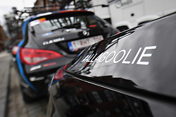 April 11, 2018 - Leuven, BELGIUM - Illustration picture shows a '#all4goolie' sticker on a Verandas Willems - Crelan vehicle, a tribute to the 23 year old cyclist Michael Goolaerts who died after a crash in the Paris-Roubaix race on Sunday 8 April, at the start of the 58th edition of the 'Brabantse Pijl' one day cycling race, 201,9 km from Heverlee, Leuven to Overijse, Wednesday 11 April 2018. BELGA PHOTO DAVID STOCKMAN (Credit Image: © David Stockman/Belga via ZUMA Press)