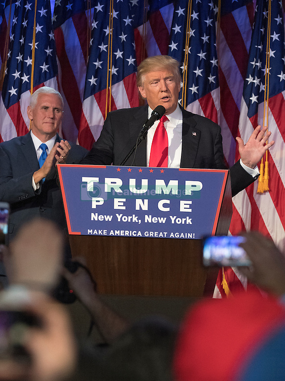 President-elect Donald Trump speaks to supporters after winning the election at the Election Night Party at the Hilton Midtown Hotel in New York City, NY, USA, on Wednesday, November 9, 2016. Photo by J. Conrad Williams Jr./Newsday/TNS/ABACAPRESS.COM