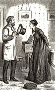 Rachel Verrinder telling Franklin Blake, to his amazement, that she saw him taking the Moonstone.  Illustration by Arthur Fraser (active 1865-1898) for 'The Moonstone' by Wilkie Collins (London, 1890). First published in 1868 and said by TS Eliot to be the 'the first and greatest of English detective novels'.
