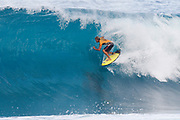 World No.1 on the Jeep Leaderboard and reigning World Champion John John Florence of Hawaii advances directly to Round Three of the 2017 Billabong Pipe Masters after winning Heat 6 of Round One at Pipe, Oahu, Hawaii, USA.