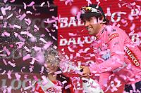 podium, Michael MATTHEWS (Aus) Orica GreenEdge, Pink Leader Jersey, winner, during the Giro d'Italia 2015, Stage 3, Rapallo - Sestri Levante (136Km) on May 11, 2015. Photo Tim de Waele / DPPI