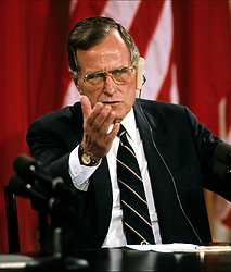 United States President George H.W. Bush answers a reporter's question during a joint press conference with President Mikhail Gorbachev of the Union of Soviet Socialist Republics, at the conclusion of their summit in the East Room of the White House in Washington, DC on Sunday, June 3, 1990. Photo by Ron Sachs / CNP /ABACAPRESS.COM