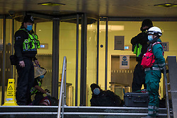 © Licensed to London News Pictures. 03/02/2021. London,UK. Activists have started a new protst at the offices of HS2. Bailiffs work to evict a group of eco-activists who are living in increasingly unstable tunnels beneath Euston Square Gardens in central London. The eviction of the HS2 Rebellion group from the square began one week ago and continues today. Photo credit: Marcin Nowak/LNP