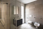 Modern bathroom with marble in a modern apartment. Nobody inside