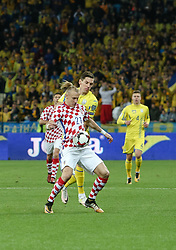 October 9, 2017 - Kiev, Ukraine - Croatia's Domagoj Vida controls the ball during the FIFA 2018 World Cup Group I Qualifier between Ukraine and Croatia at Kiev Olympic Stadium on October 9, 2017 in Kiev, Ukraine. Ukraine fail to reach the play-offs as they lose 2-0. (Credit Image: © Sergii Kharchenko/NurPhoto via ZUMA Press)