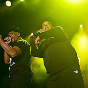 """BETHLEHEM, PA - AUGUST 06:  (L-R) Daryl McDaniels and Joseph """"Rev Run"""" Simmons of RUN-DMC perform at Sands Steel Stage at PNC Plaza on August 5, 2016 in Bethlehem, Pennsylvania.  (Photo by Lisa Lake/Getty Images)"""