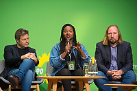 DEU, Deutschland, Germany, Berlin, 24.11.2018: Robert Habeck, Co-chair Alliance 90 / The Greens, Aminata Touré, Member of Parliament in Schleswig-Holstein, Anton Hofreiter,  Chairman of the Parliamentary Group of Alliance 90 / The Greens in the German Parliament. Council of the European Green Party (EGP council) at Deutsche Telekom Representative Office.