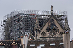 The day after the fire that devastated the roof and part of the Notre-Dame de Paris Cathedral, the time has come to estimate the damage while many firemen are still guarding the religious building to prevent any resumption of fire. Paris, France, April 16, 2019. Photo by Samuel Boivin / ABACAPRESS.COM
