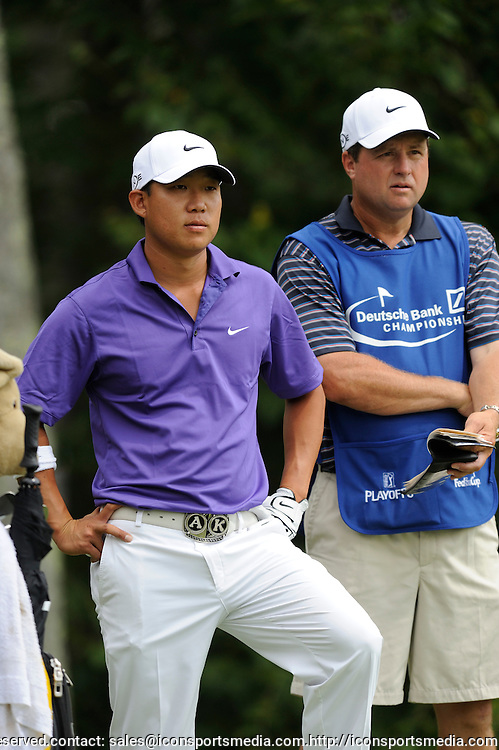 29 Aug 2008:  Anthony Kim and caddie during the first-round of the PGA Deutsche Bank Championship at the TPC Boston in Norton, MA.