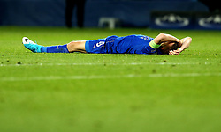 Jamie Vardy of Leicester City lies on the floor dejected after the defeat to Atletico Madrid in the UEFA Champions League Quarter-Final - Mandatory by-line: Robbie Stephenson/JMP - 18/04/2017 - FOOTBALL - King Power Stadium - Leicester, England - Leicester City v Atletico Madrid - UEFA Champions League Quarter-Final Second Leg