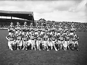 Neg No: .A801/4571-4583,..7091958AISHCF,..07.09.1958, 09.07.1958, 7th September 1958,.All Ireland Senior Hurling Championship - Final,..Tipperary.04-09,.Galway.02-05,.Tipperary Team,.Back row (from left) Noel Murphy, John McGrath, Mick Maher, Kieran Carey, Larry Keane, John Hough, Liam Devaney, John Doyle, Jimmy Finn, Mick Burns, Ray Reidy. Front Row (from left) Martin Maher, Liam Connolly, Jimmy Doyle, Tom Larkin, Theo English, Tony Wall (capt), John O'Grady, Mickey Byrne, Donie Nealon, Terry Moloney,