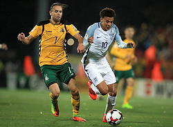 Lithuania's Vykintas Slivka (left) and England's Dele Alli battle for the ball during the 2018 FIFA World Cup Qualifying Group F match at the LFF Stadium, Vilnius.